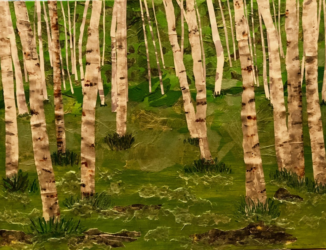 "Aspens in the Forest  2018 Torn original papers & acrylic paint 30"" x 40"""