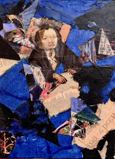 "Mysterious Woman  2019 Torn up old collage, assorted papers & text 15"" x 12"""