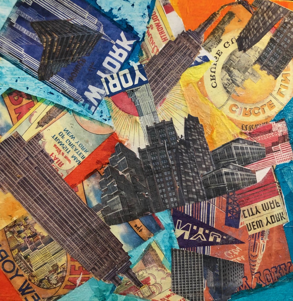 """New York in Free Fall  2019 Papers & acrylic paint 18"""" x 18"""""""