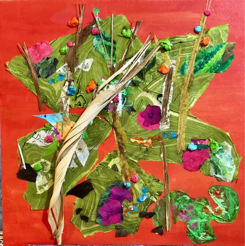 """Rebirth in the Desert  2019 Tissue paper, palm fronds & acrylic paint 18"""" x 18"""""""