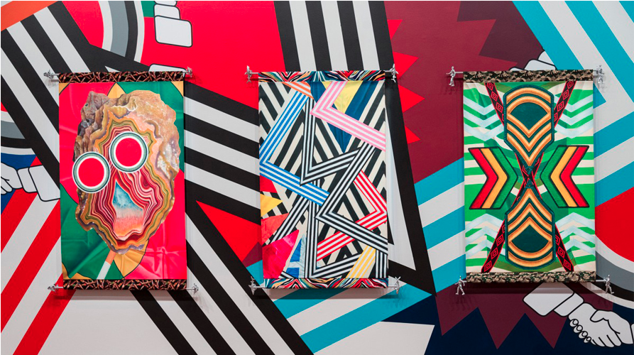Tully Moore at Melbourne Now, NGV, 2013-14, synthetic polymer paint & vinyl. Oil on canvas, cotton trim.