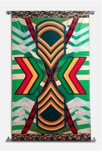 Chevron, 2013, oil on canvas, cotton trim.