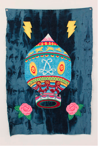 The Weather Prophets, Denimism @West Space. Oil on denim, 2012