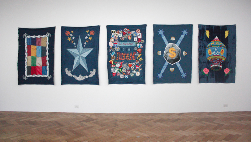 Denimism, @West Space, installation view. Oil on denim, 2012