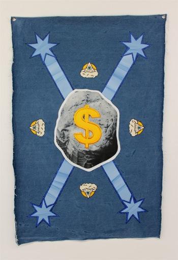 Australian Mining Federation, Denimism @West Space. Oil on denim, 2012