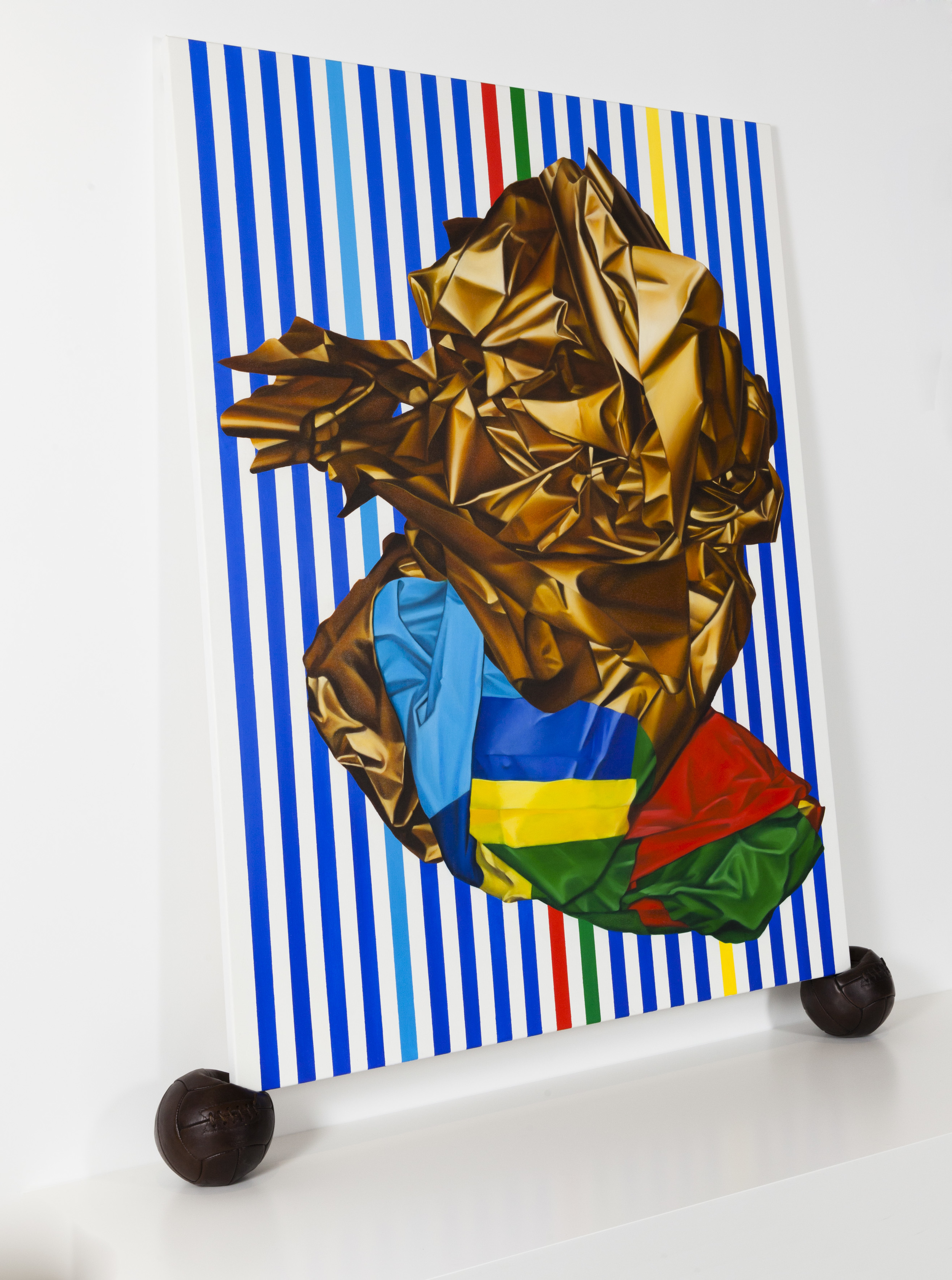 Copa, (Artbank/Gertrude Contemporary commission) 2015. Oil on canvas, cast bronze footballs.