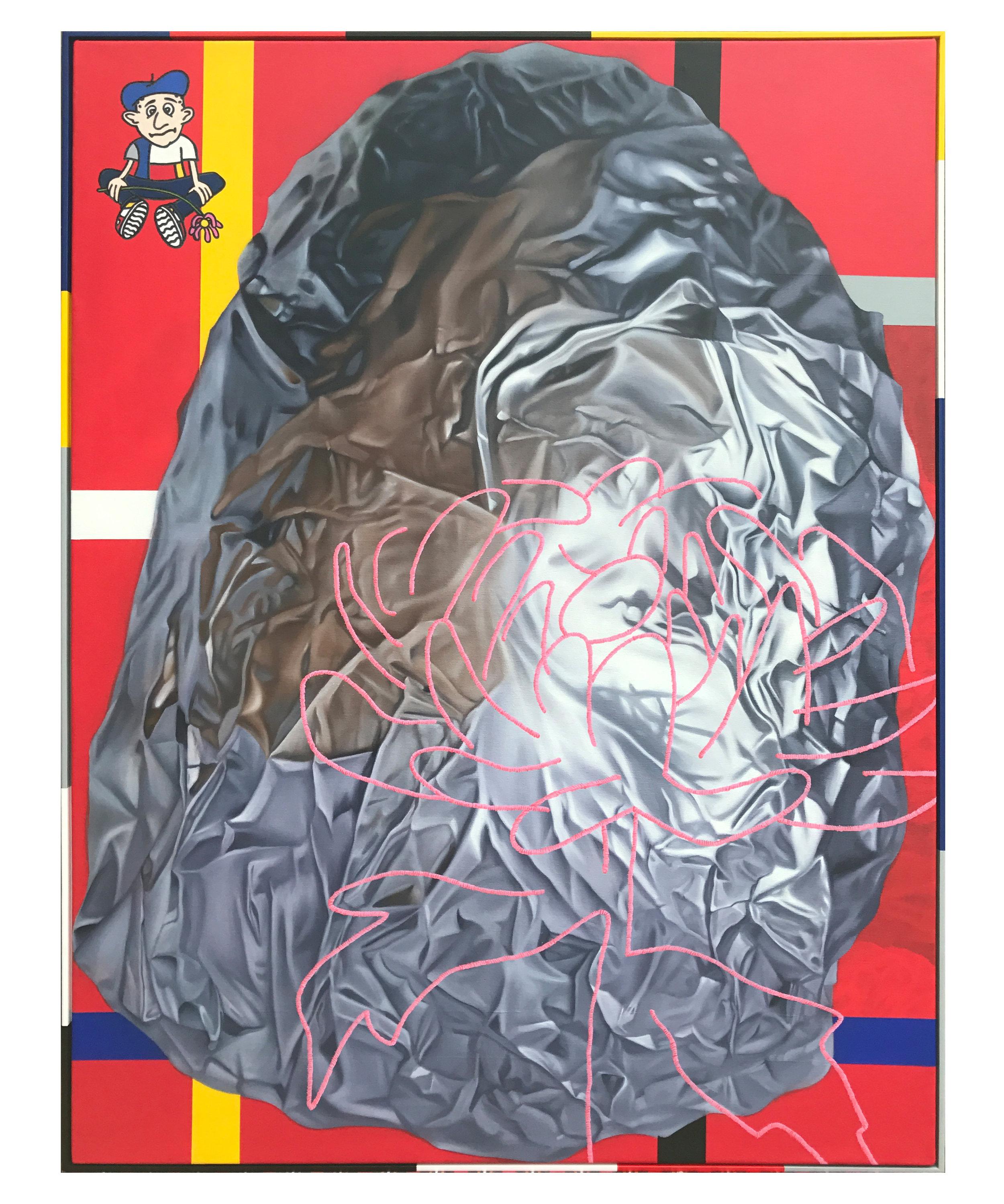 'Chrysanthemum', oil on canvas, artist frame. 123 x 93cm. 2017