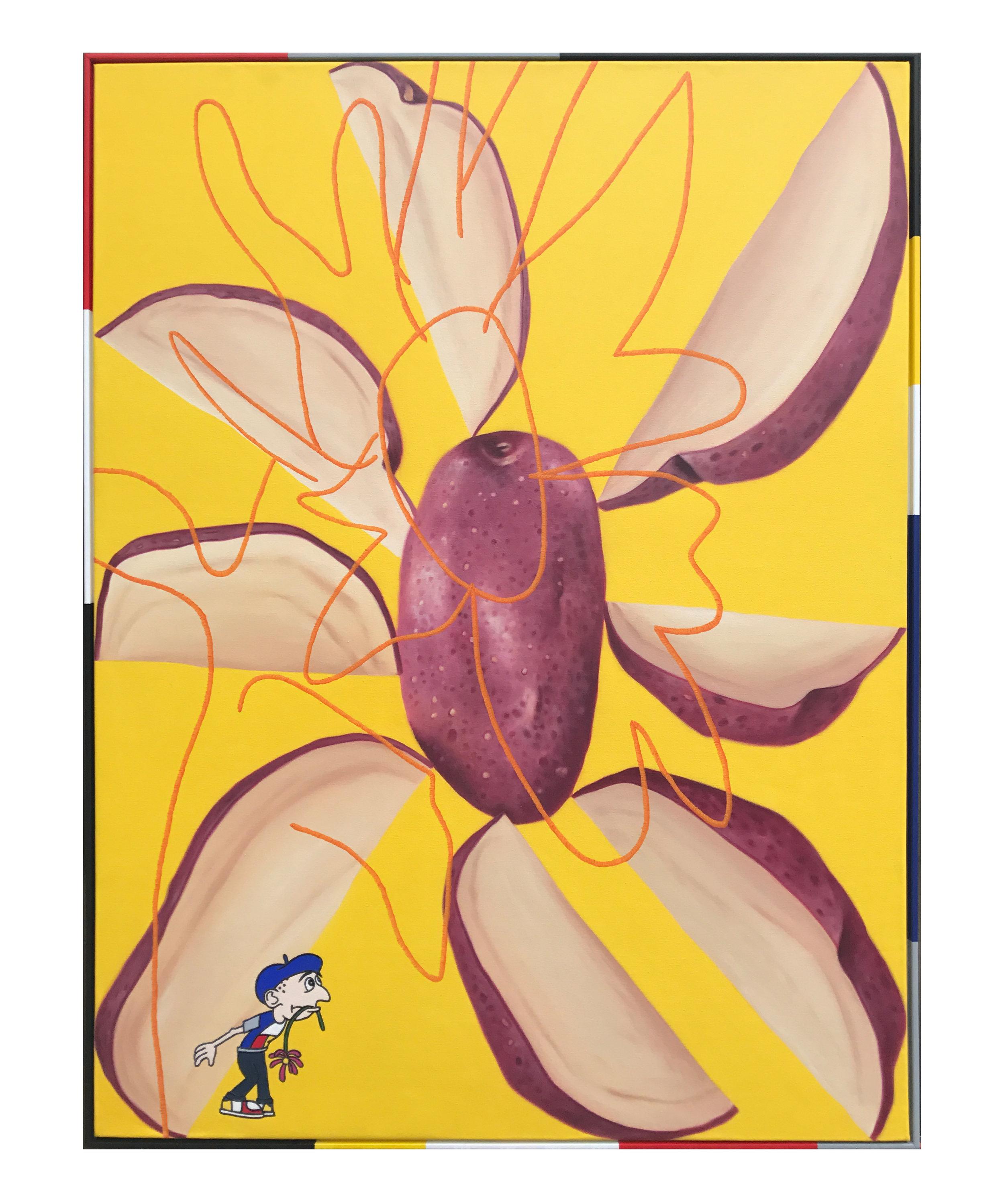 'Sunflower', oil on canvas, artist frame. 123 x 93cm. 2017