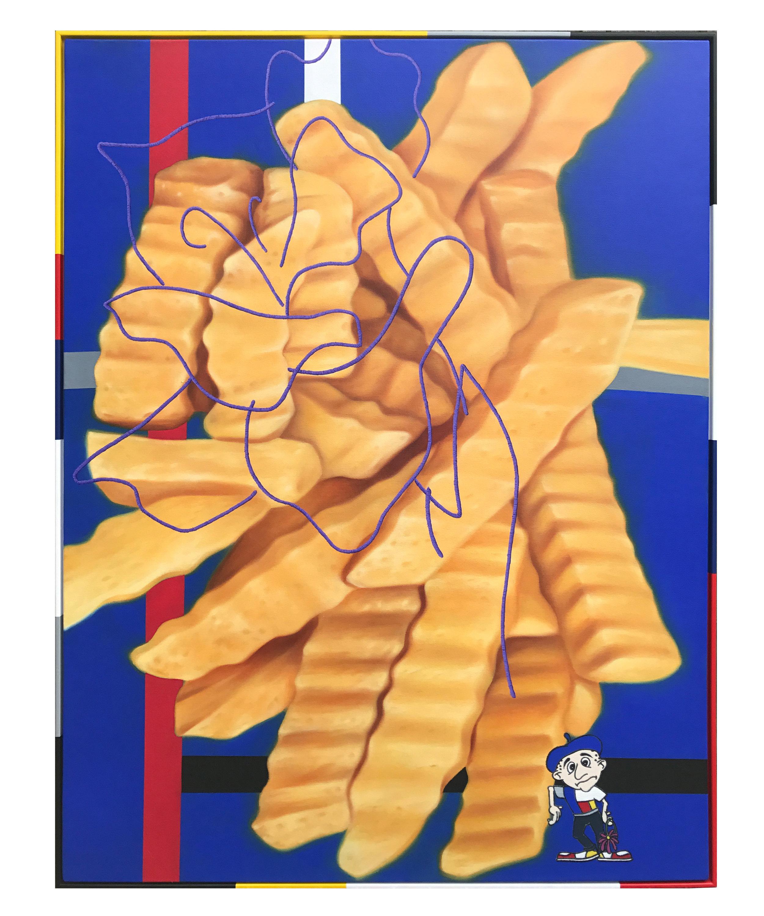 'Iris', oil on canvas, artist frame. 123 x 93cm. 2017