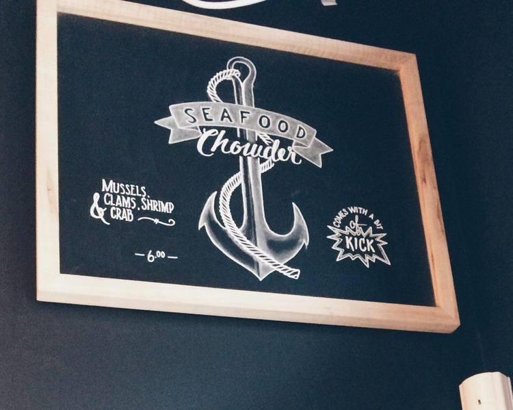 Seafood Chowder Sign at FOTB | Tall Girl Meets World