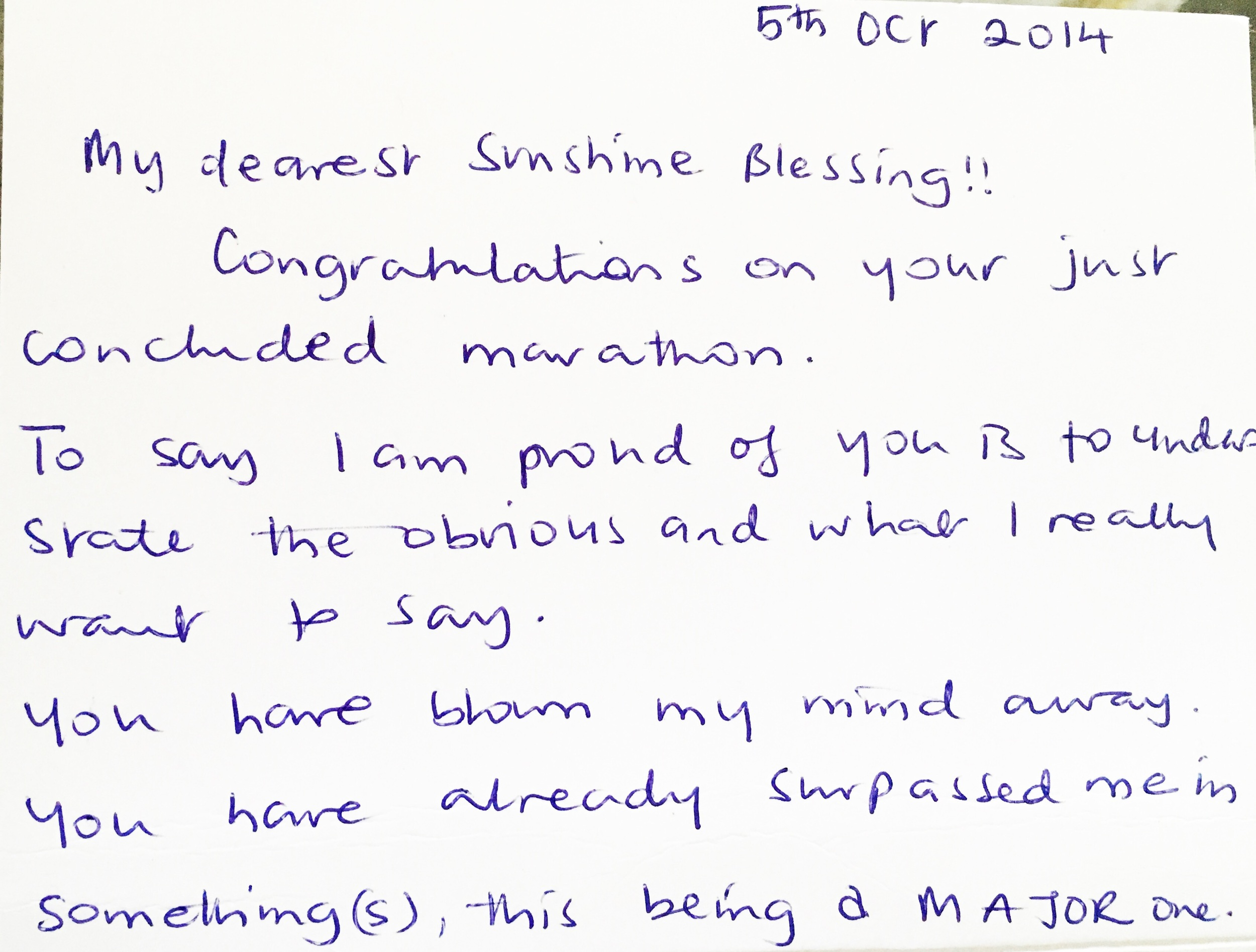 A letter my mother sent me with a beautiful gift the day of my marathon. I will cherish it forever!