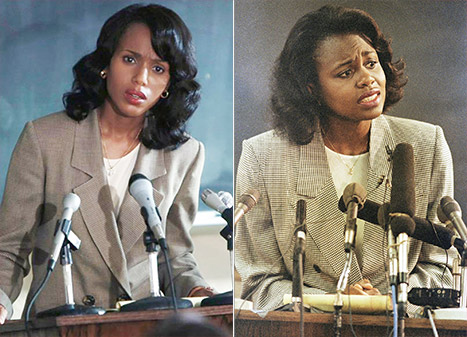 (L): Kerry Washington as Anita Hill. (R): Anita Hill. Photo Credit: HBO.