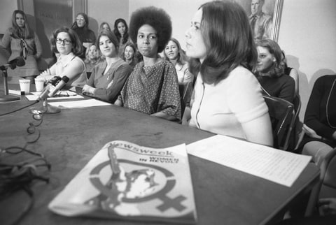 The real 1970 press conference, in which 46 women announced their EEOC lawsuit against 'Newsweek.' Photo & Caption Credit: RollingStone Magazine.