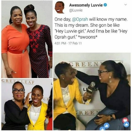 @Luvvie posted the tweet above in 2011 and her dream came true in 2016! Photo Credit: Bella Naija