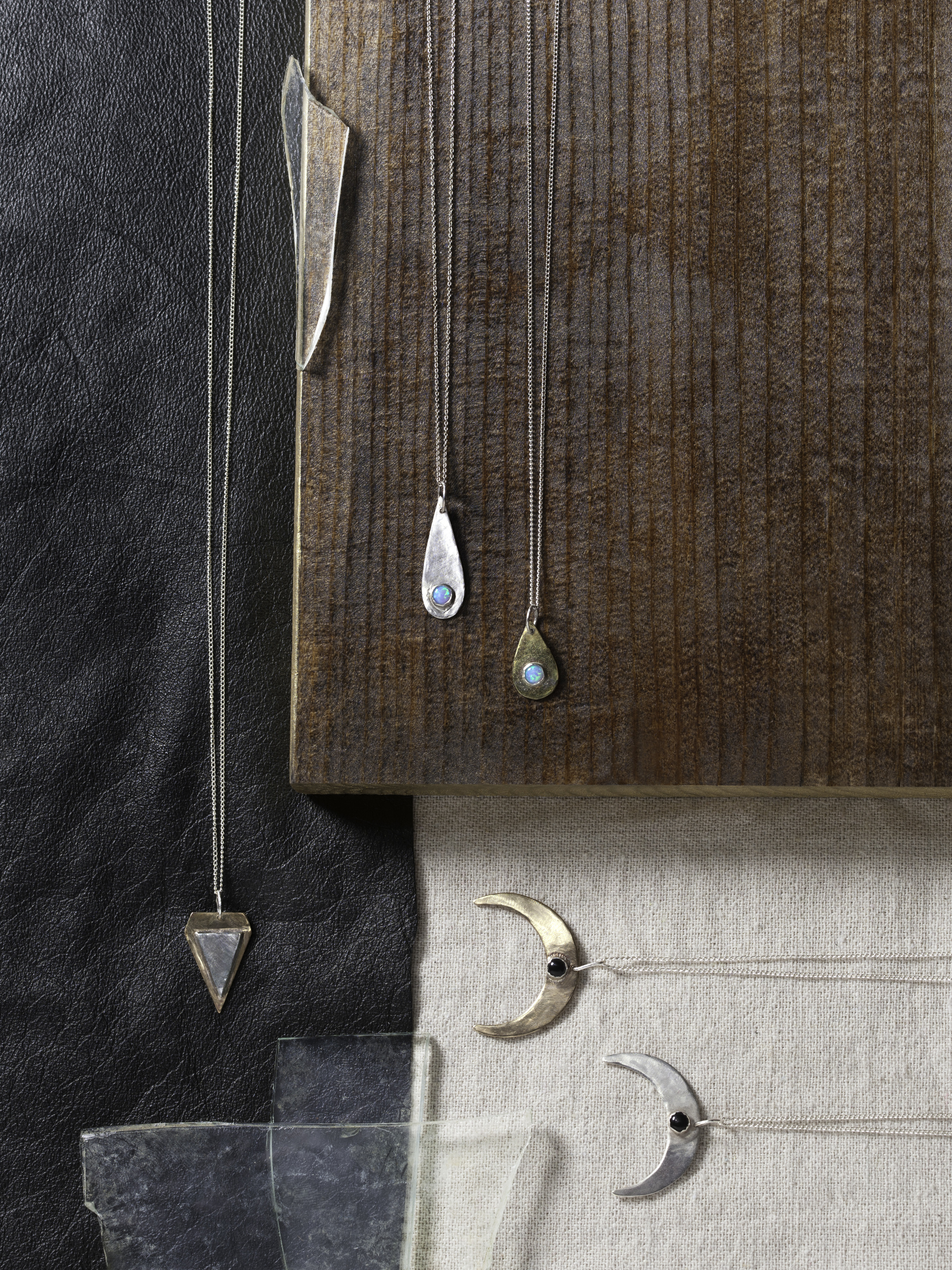 Teardrop, Triangle, and Crescent Necklaces