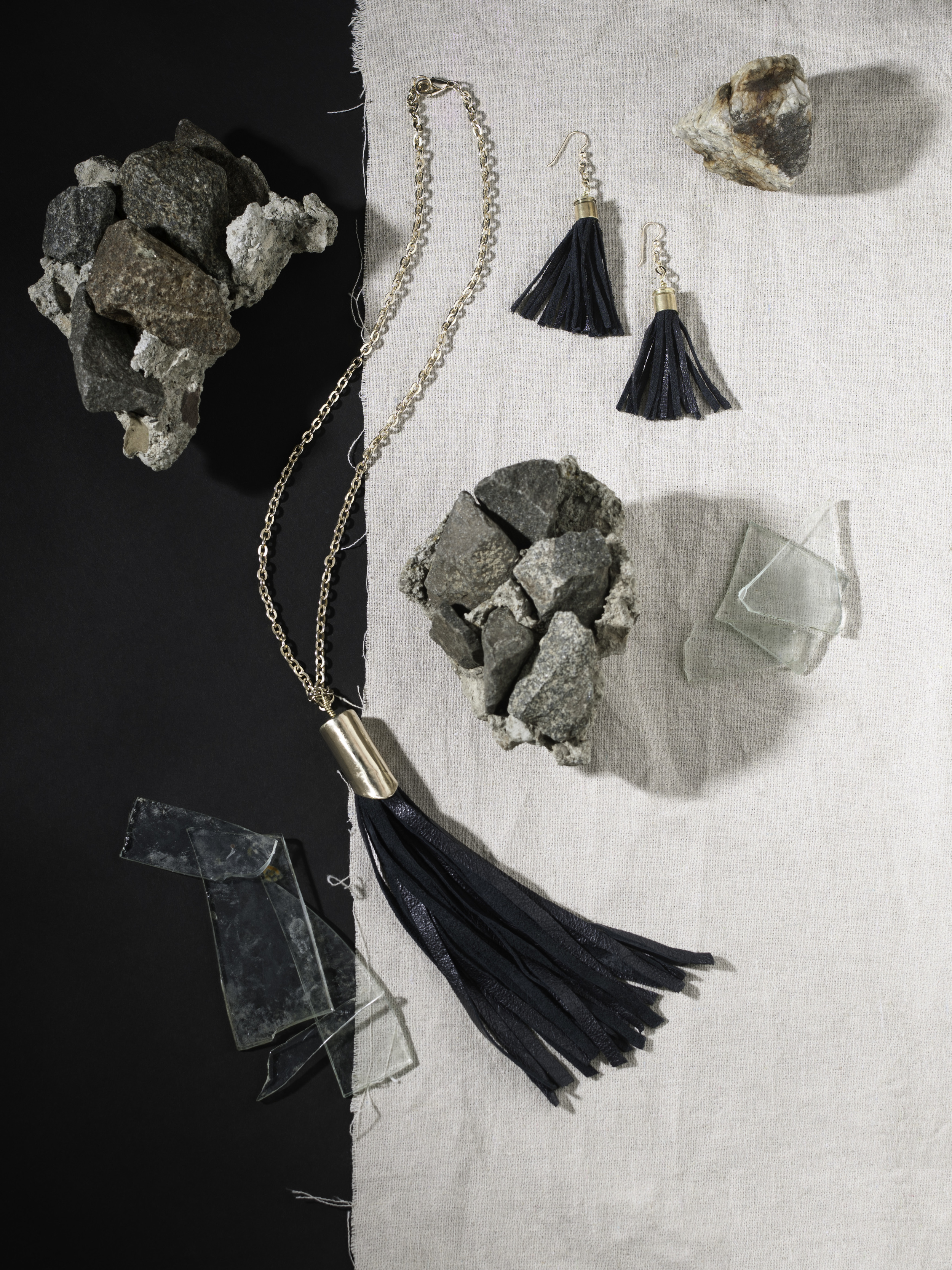 Leather Fringe Necklace and Earings