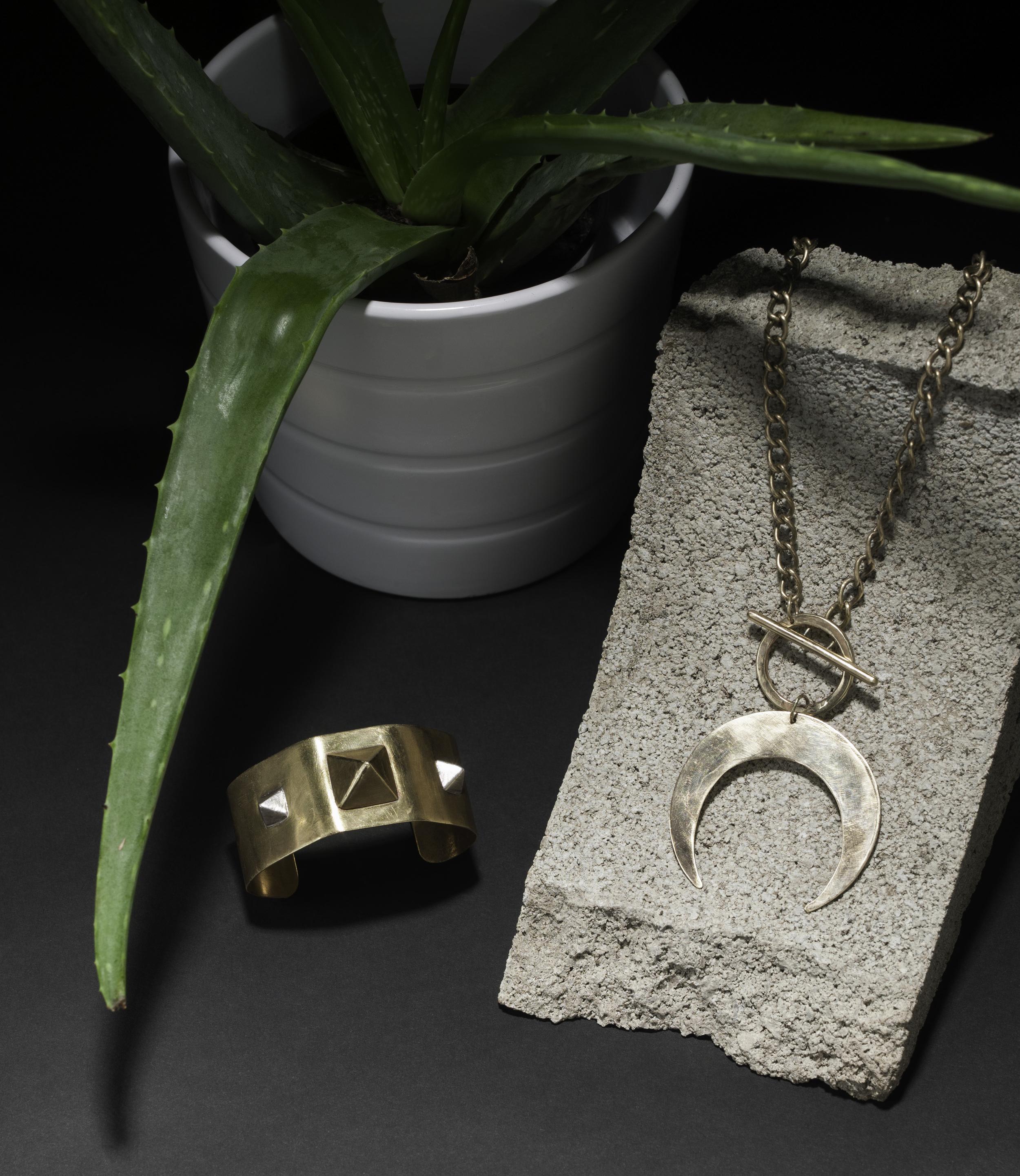 Crescent Necklace and Bracelet