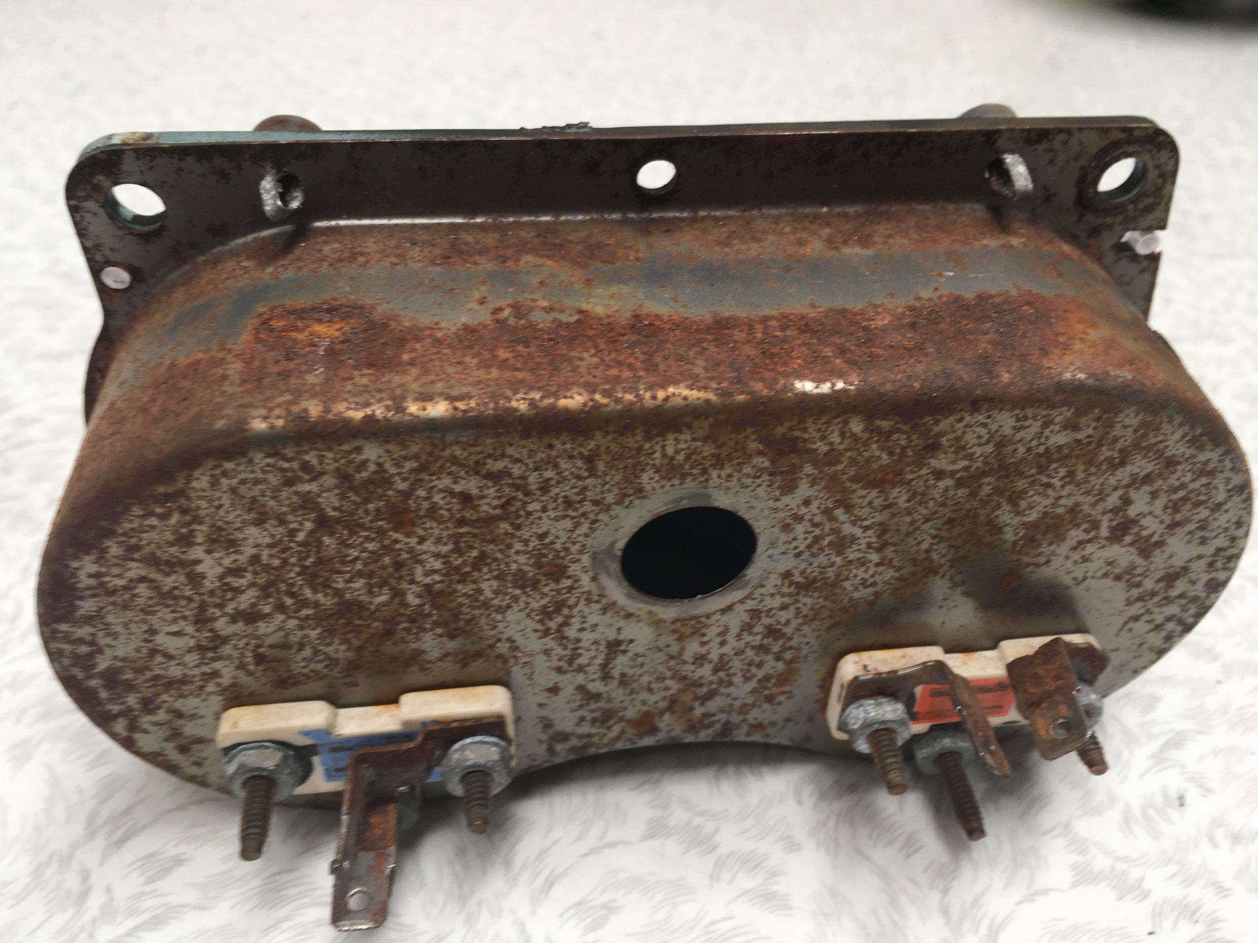 Fuel & Volts Cluster - Rear BEFORE restoration