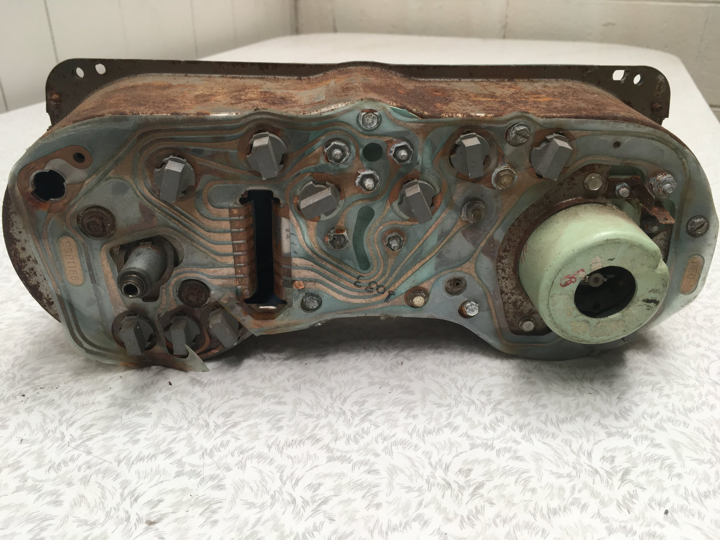 Speedometer & Tachometer Cluster - Rear BEFORE restoration