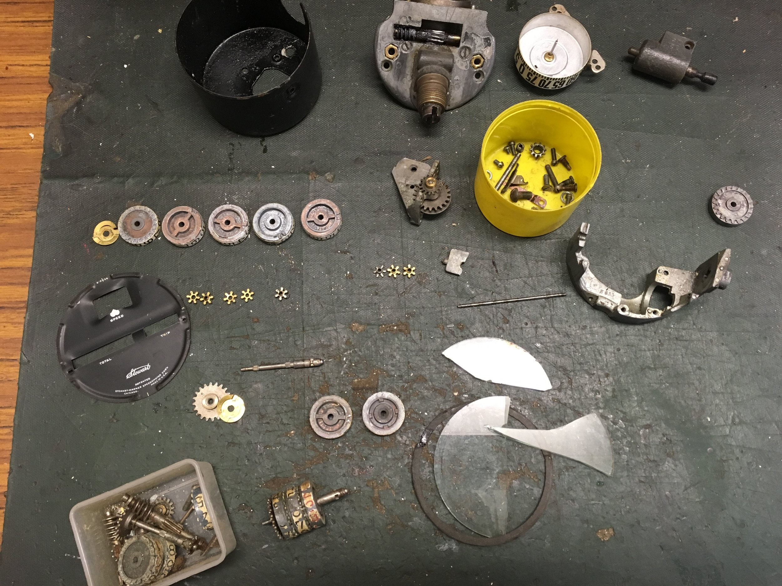 During restoration - disassembled speedometer into all parts to clean and replace all broken gears