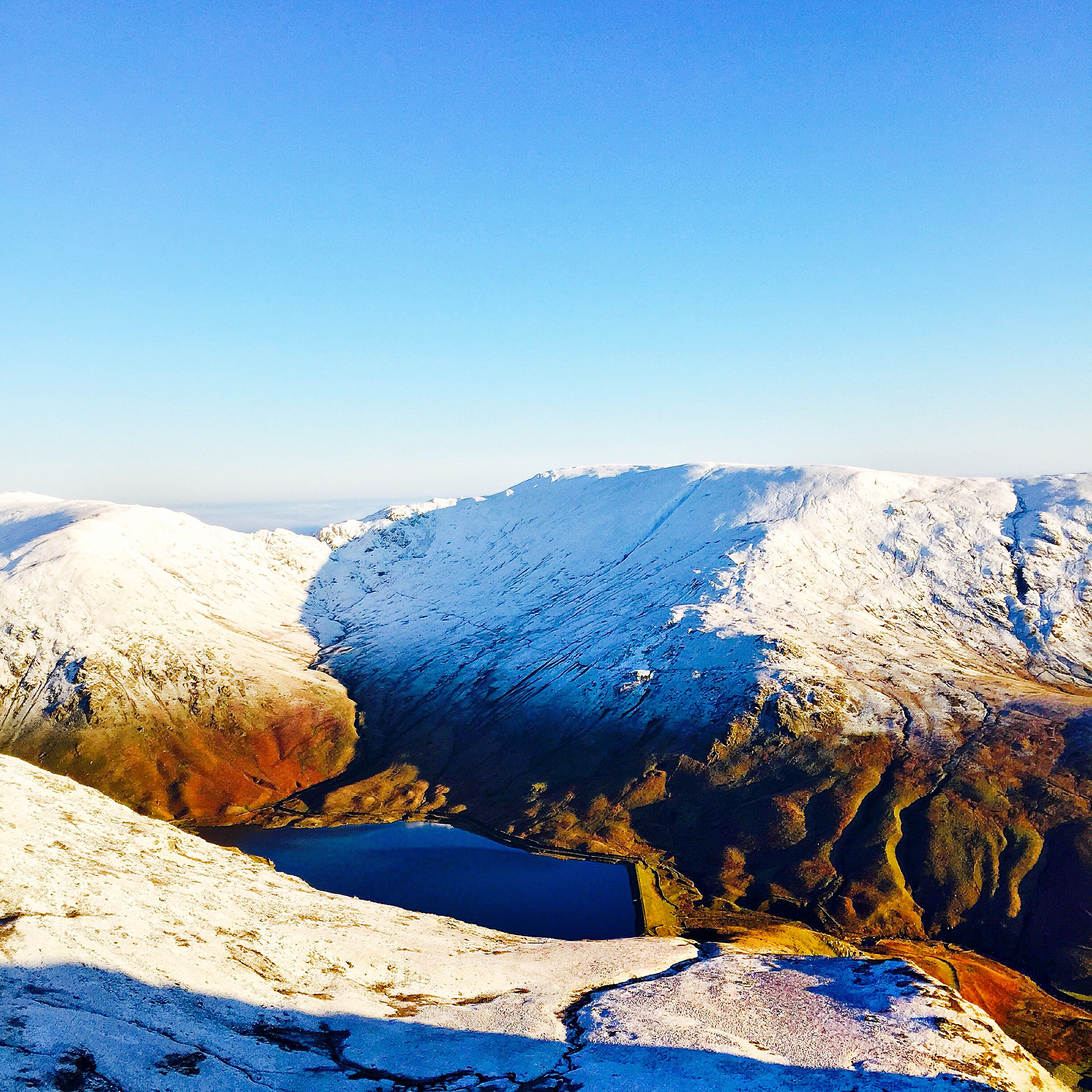 Harter Fell from Ill Bell with Kentmere Reservoir