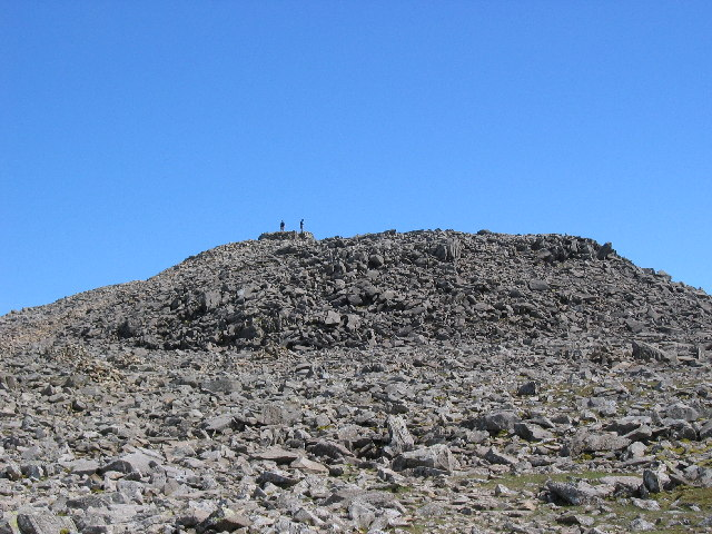 Scafell Pike summit - boulders galore making for very tricky running (picture by Stephen Horncastle)