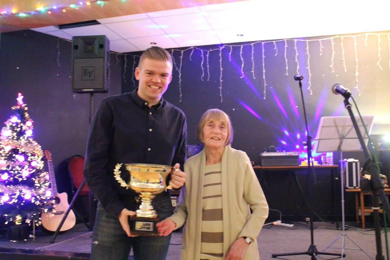 Darwen Dashers legend, Maureen Roberts, presenting me with her trophy