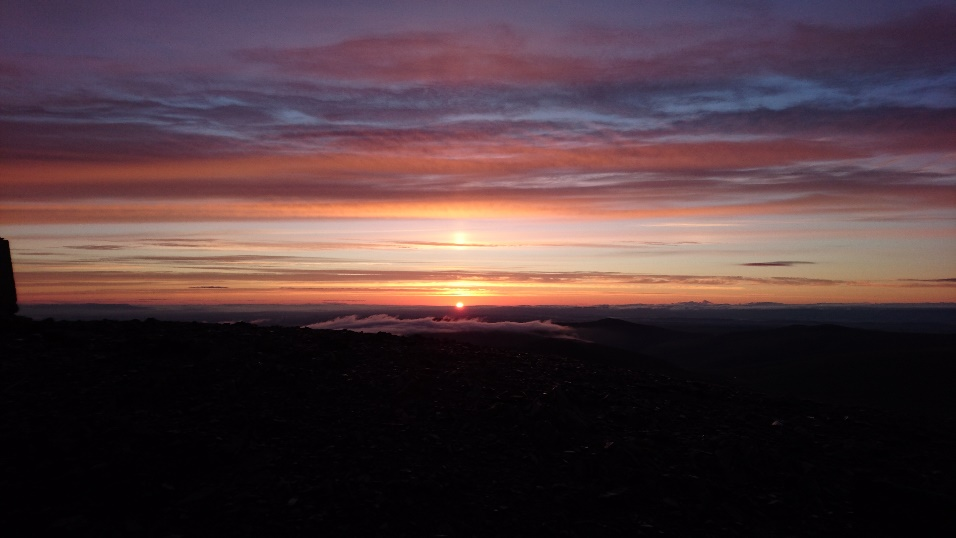 Start of my journey, sunrise from Skiddaw. Worth the entire trip.