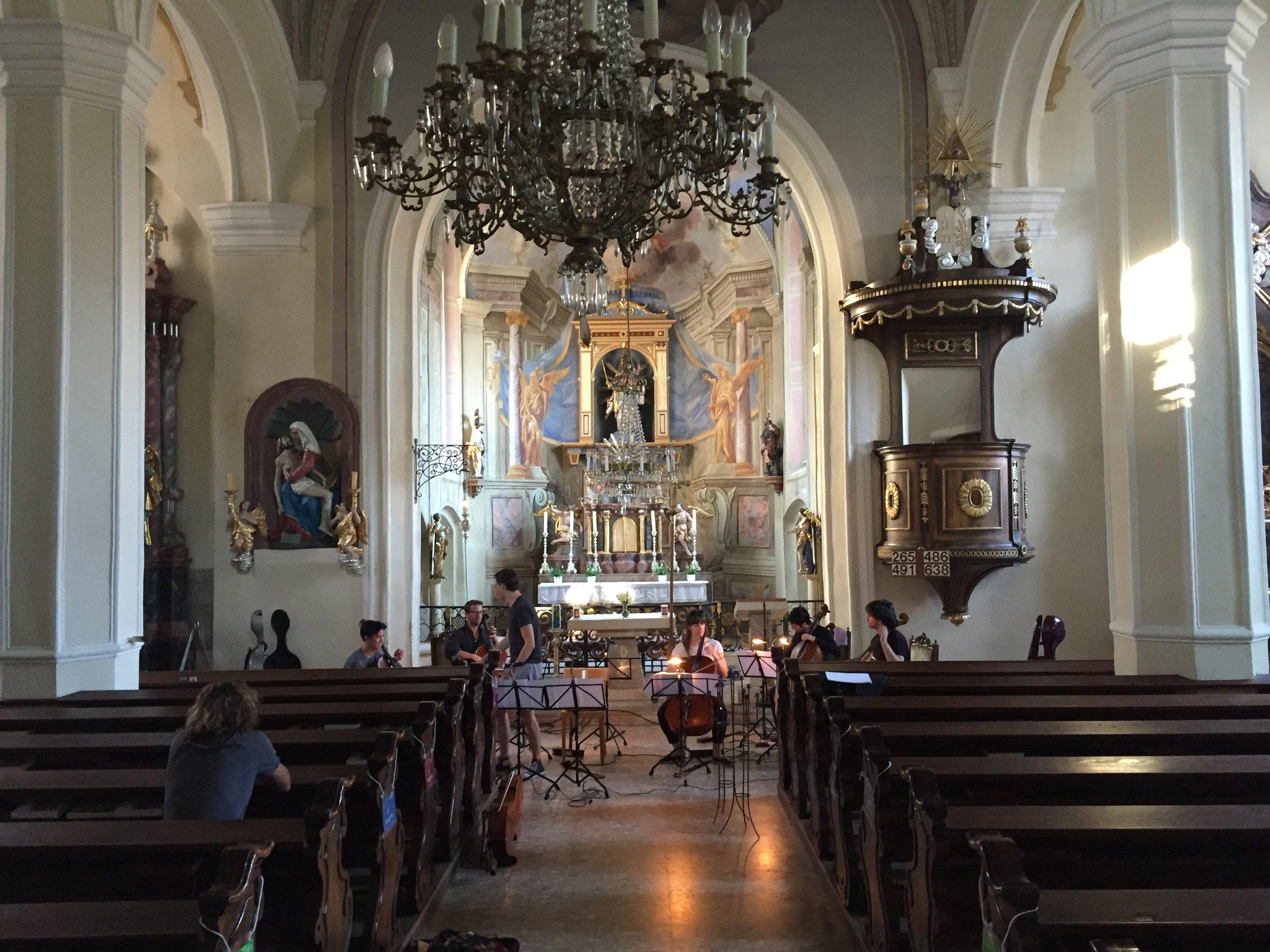 Cello Octett in a church in Steyermark
