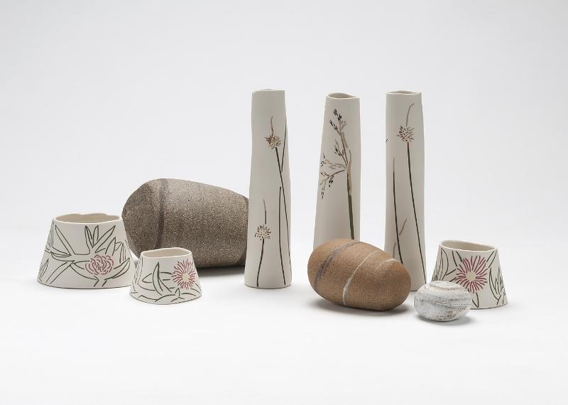 Beach Edge: Aragunnu , (detail) 2015. Porcelain, stoneware, wheel-thrown, inlay, sgraffito, up to 25h x 16w cm. Image: Rob Little Digital Images