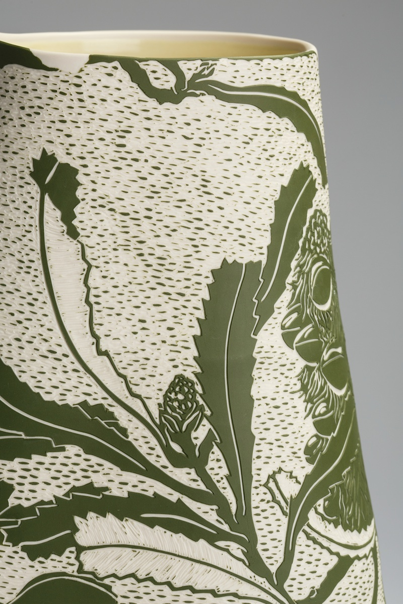 Banksia serrata , 2016. Porcelain, sgraffito.  Winner of the inaugural Klytie Pate People's Choice Award