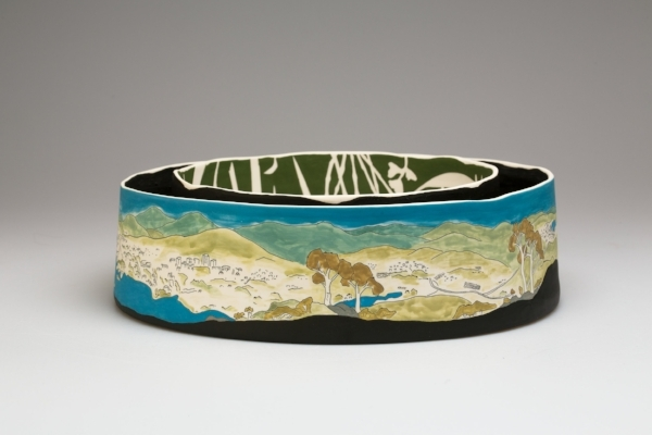 Cathy Franzi,  View from summit of Black Mountain , 2017. Porcelain, 9.4h x 32.6d cm. Image: Andrew Sikorski-Art Atelier