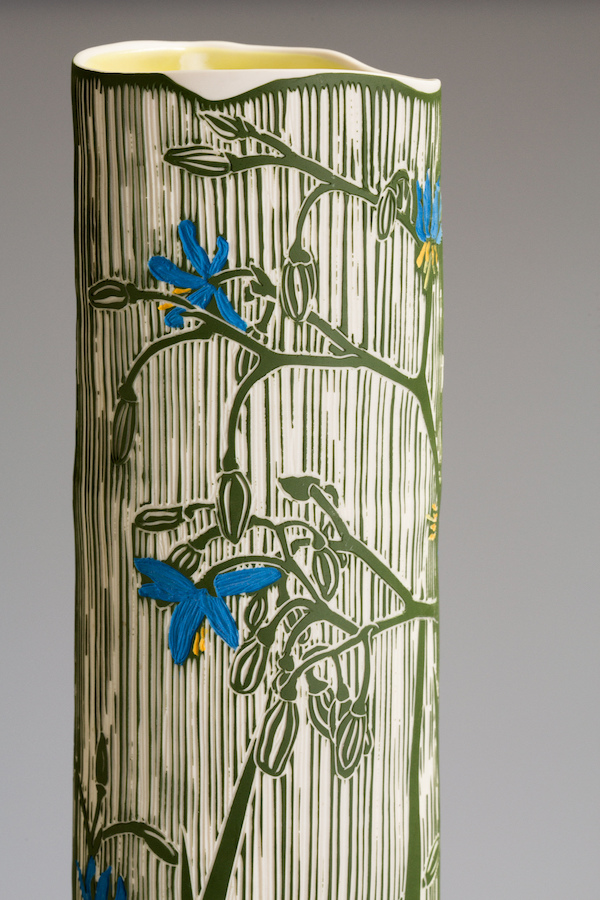 Volcanic Plains: Flax Lily with Orchid   Porcelain, 61h x 16.8w x 15d cm  Image: Andrew Sikorski-Art Atelier