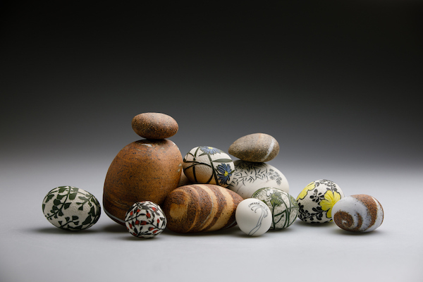 Coastal Stones , 2019. Porcelain, stoneware, wheel-thrown and altered. Up to 8h x 16w x 8 d cm. Image: Andrew Sikorski-Art Atelier