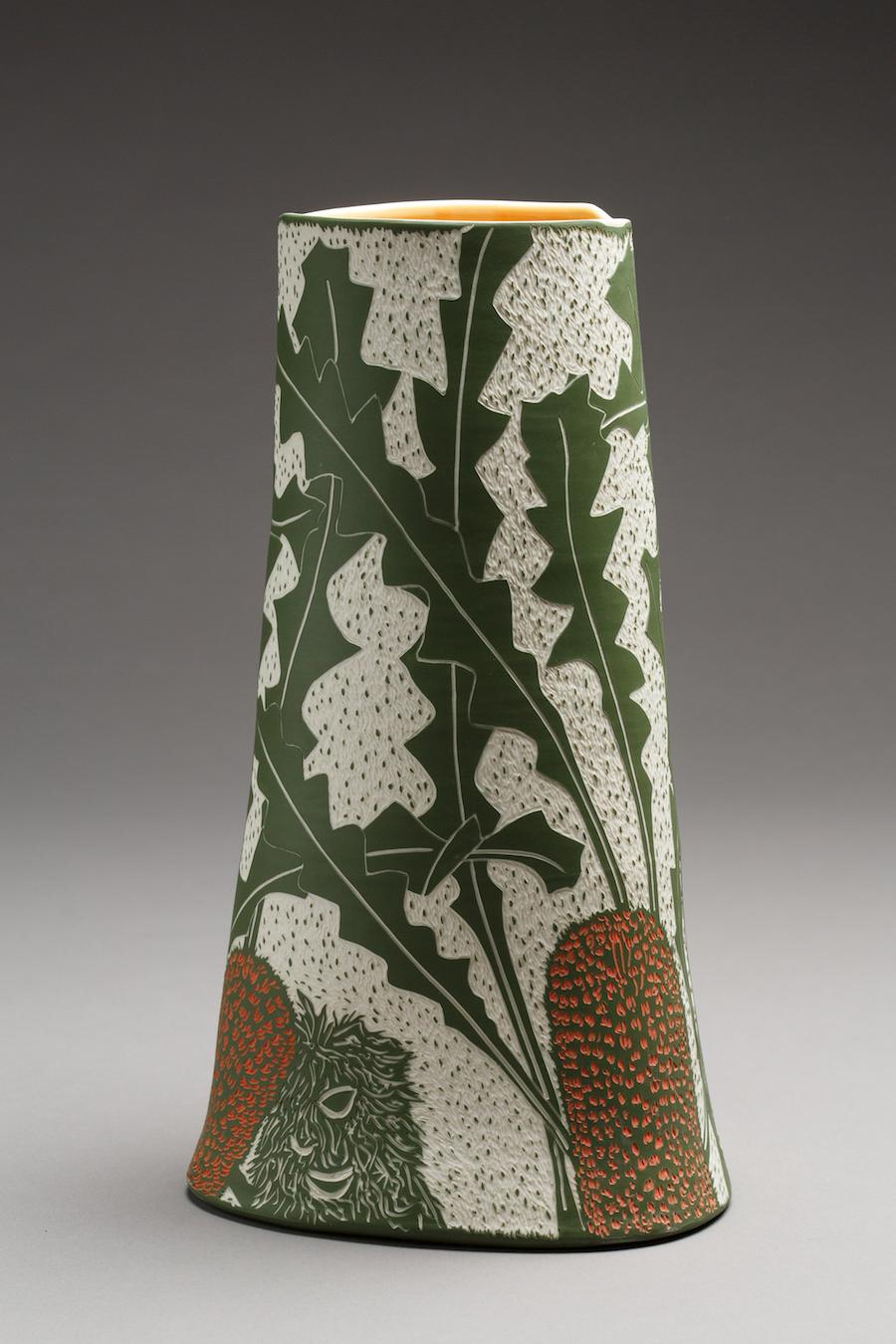 Banksia gardneri, 2018. Porcelain, sgraffito, 38.6h x 21.8w x 20.3d cm. Image: Art Atelier