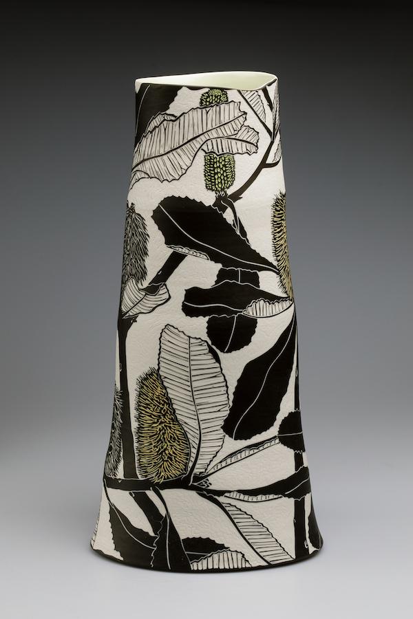 Banksia robur , 2019. Porcelain, sgraffito, 48.5h x 24w x 22.5d cm. Image: Art Atelier