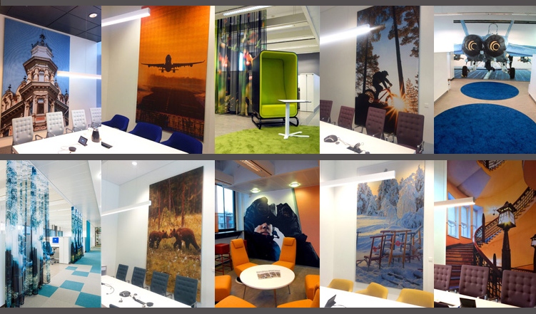 These patterns on wallpapers, sheers and acoustic boards were created for the Team Finland House in Helsinki and for the Defence Forces Service Center in Joensuu Science Park.