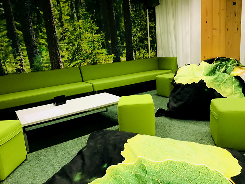 Taiga Colors Haapa beanbags at the virtual nature space of LUKE, the Natural Resources Institute Finland.