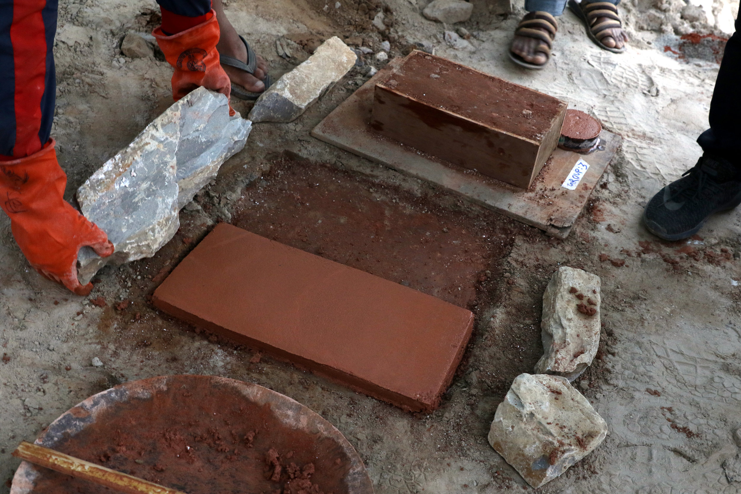 Lime stabilized trials for footing/plaster/pressed brick