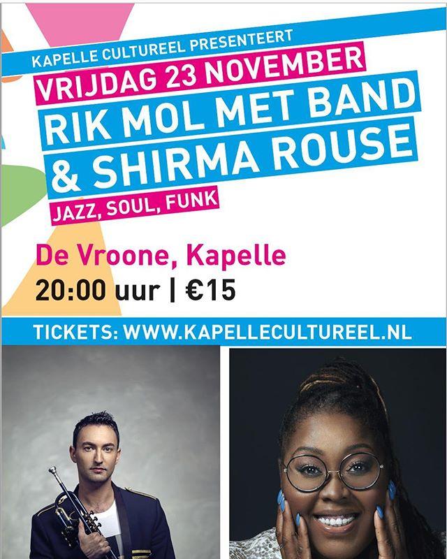 23 november staan Shirma en ik in Kapelle voor een try out. TICKETS: www.kapellecultureel.nl #infinitemirrors #shirmarouse #rikmol #tryout #show #funk #soul #nujazz #grooves #trumpet #zeeland #kapellecultureel #kapelle