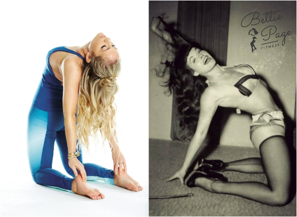 A modern yogi and a retro yogi open their hearts in Camel Pose (Ustrasana) ~ Budig photo by Cheyenne Ellis; Page photo by Irving Klaw