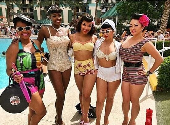 Jenny Rieu, Angelique Noire, Ashleeta Beauchamp, Vintage Vandalizm & LaCoreXicana at Viva Las Vegas Rockabilly Weekend (photographer unknown)