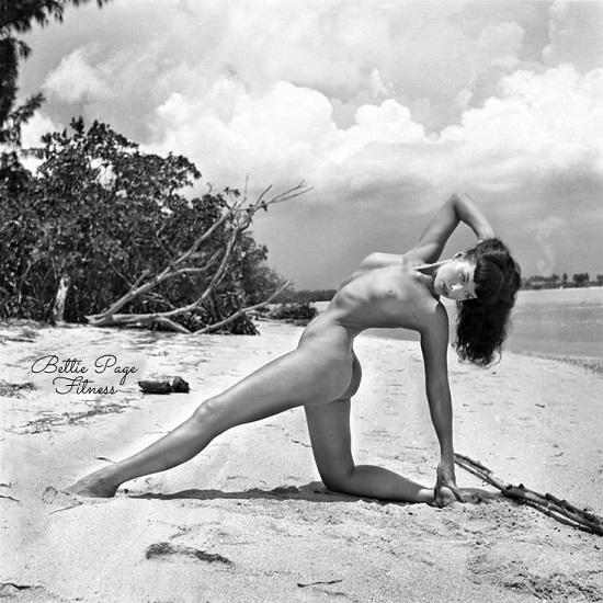 Bettie strikes a mean Camel Pose variation on the beach in a Miami shoot with Bunny Yeager!