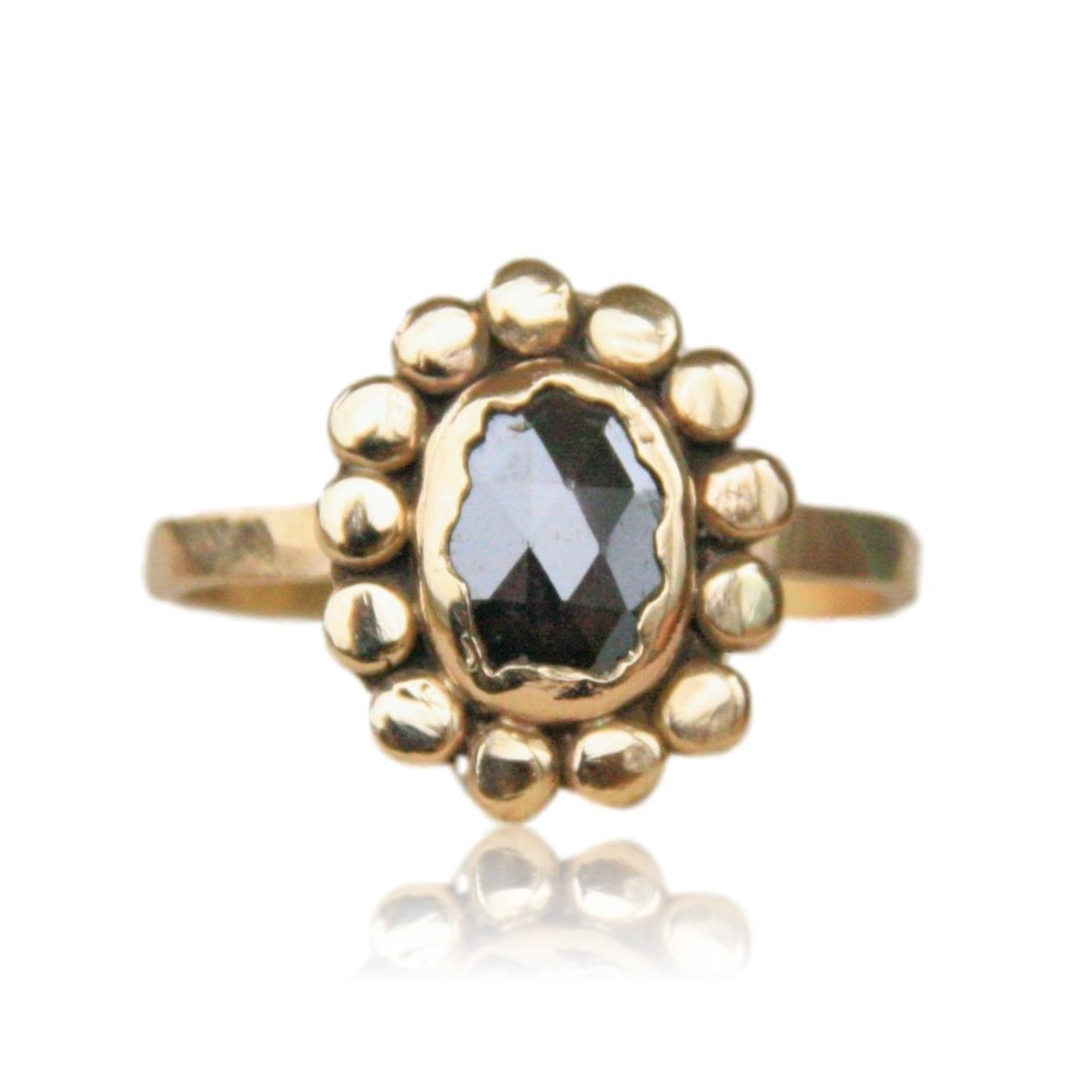 Black Rose Cut Diamond Ring