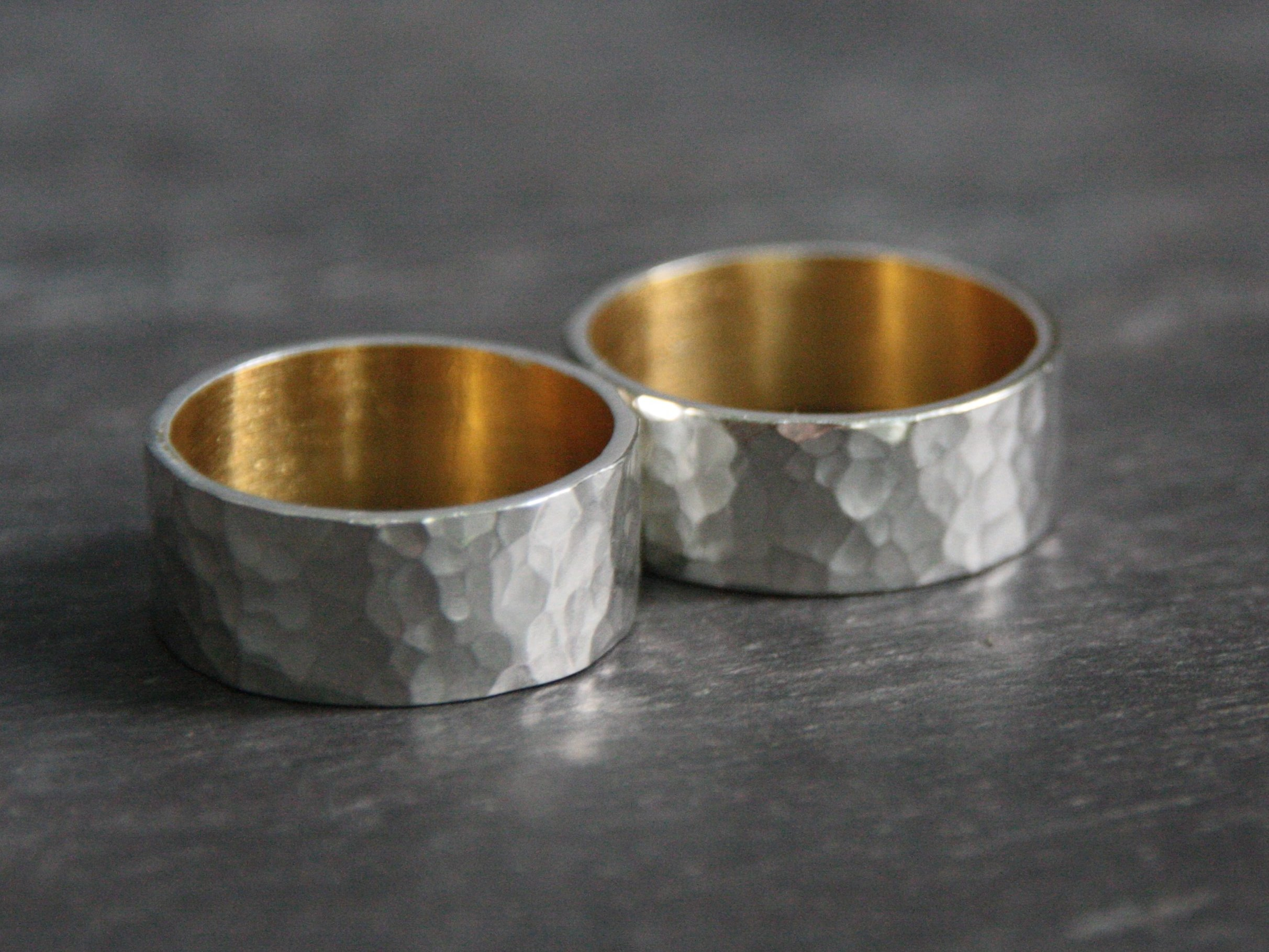 Custom Sterling Silver and Keum Boo Rings .