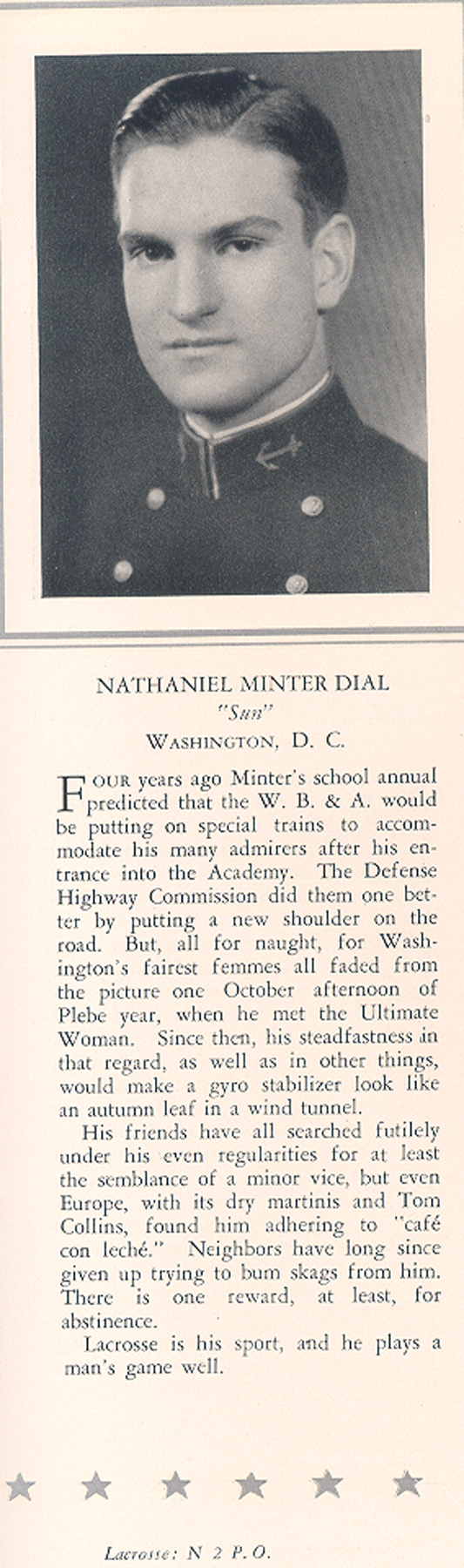 Nathaniel Minter Dial USNA classof1932 Yearbook entry.jpg