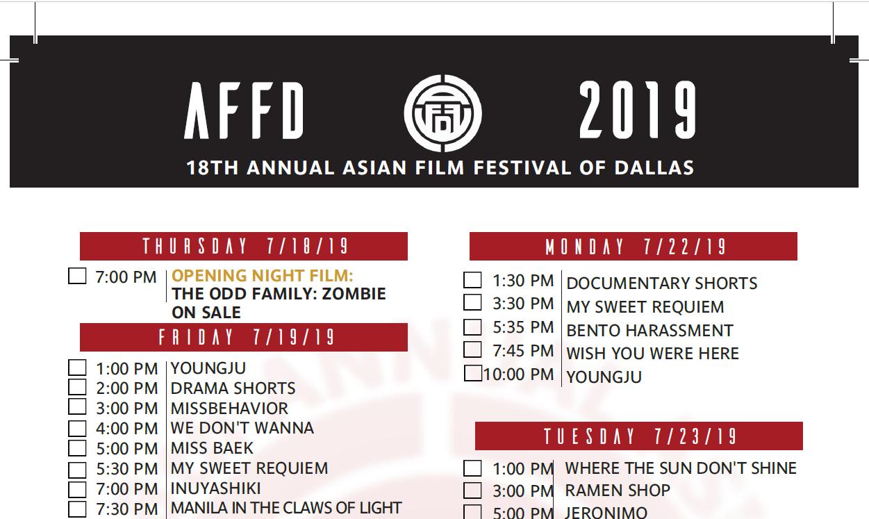 DOWNLOAD SCHEDULE 2019 — ASIAN FILM FESTIVAL OF DALLAS