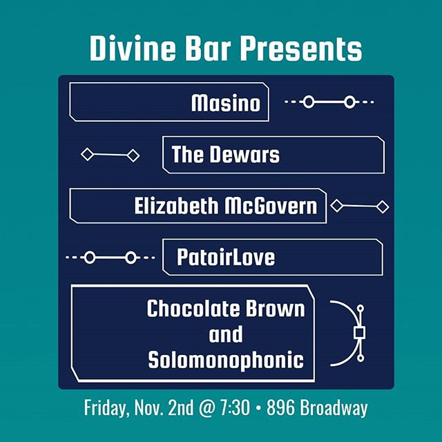 THIS FRIDAY!!! You don't want to miss this. Possibly our last night of music in our backyard for the season!!! Come out and jam with these TALENTS: @masino._ @the_dewars @lizmcgibblets @patoirlove @ChocolateBrown_ @thesolomonophonicsound . SPECIAL THANKS TO @ke.ma.is and @jenndeblah for putting this all together! #brooklyn #music #livemusic #bushwick #bedstuy #nyc #thingstodoinnyc #barmusic #patio