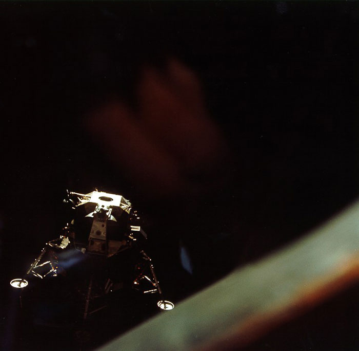 Apollo 10 Lunar Module after undocking - image credit: NASA / www.apolloarchive.com, scanned by Kipp Teague