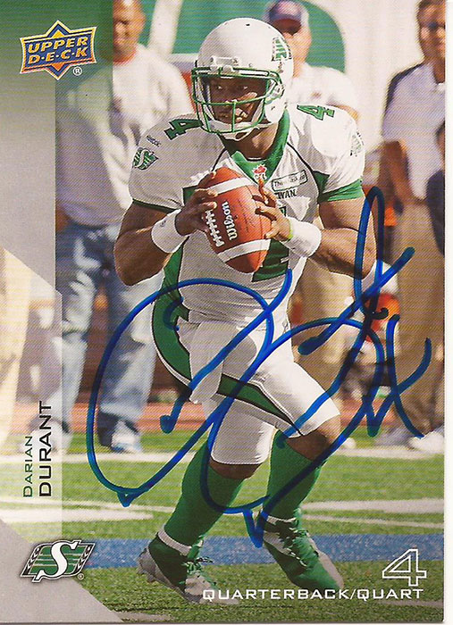 2014 Upper Deck CFL Offensive Base Set (Cards 1-100) including autographed Darian Durant card. $55 + $10 shipping